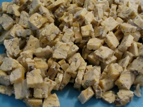 Chopped steamed tempeh.