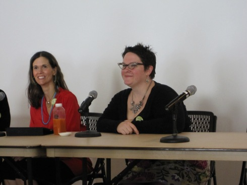 "Dreena Burton (in red), sitting next to Joanna Vaught during the class, ""Privacy Lines & Oversharing"""
