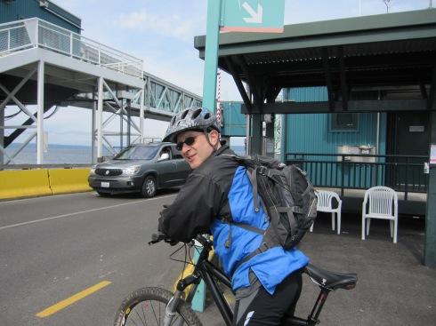 Eric waiting for the ferry.