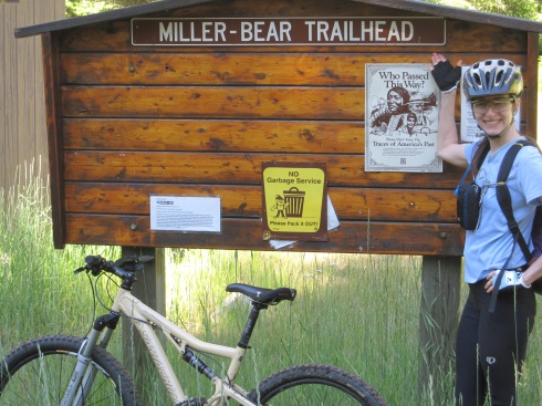Elisa at the Trailhead for Bear Cr/Iron Cr Trail, on Stafford Creek Rd