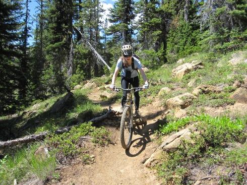 Elisa descends smooth trail