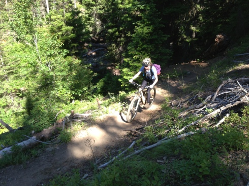 Elisa on the smooth section of Stafford Creek Trail