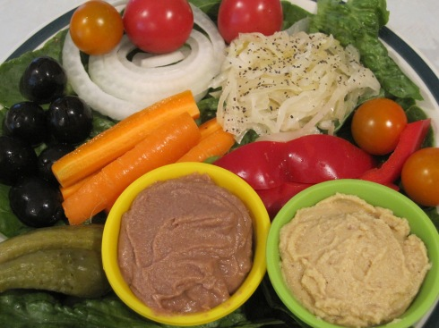 Veggie plate with Lilly's Black Bean & Cracked Pepper Hummus.
