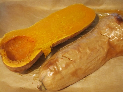 Baked butternut squash. (One half flipped over to show what it looks like after baking.)