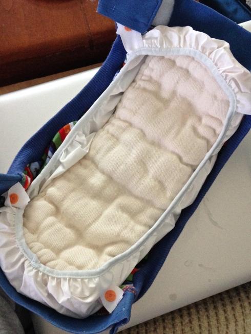 g diaper with newborn prefold inside