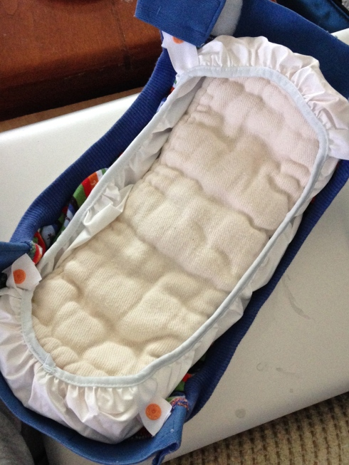 g diaper with newborn prefold inside