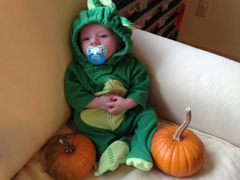 Trying on his Halloween outfit - October 19, 2014