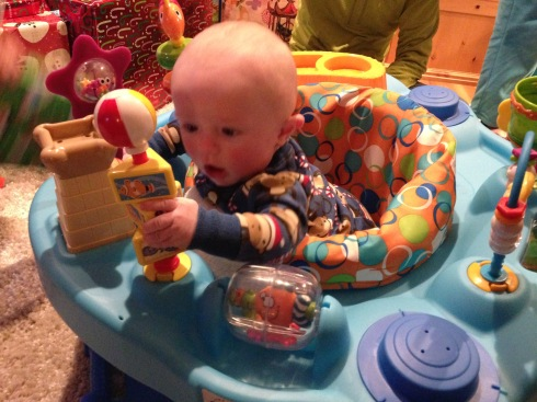 Todd in his new ExerSaucer - December 25, 2014