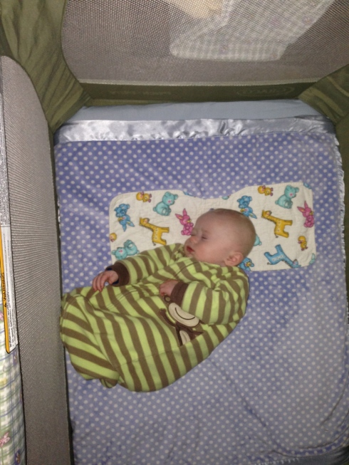 On his side in the travel bed - January 2, 2015
