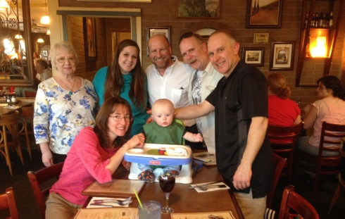 Todd with his Grammie, Cousin Kylie, Uncle Darren, Uncle Jeff, mama & dada - March 12, 2015