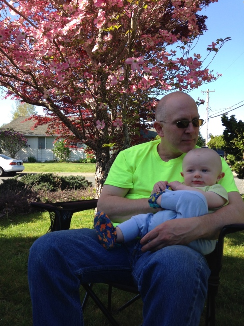 Enjoying some fresh air with Eric after he got home from work - April 20, 2015