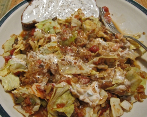 Cabbage Roll Casserole with Vegan Sour Cream on Toast