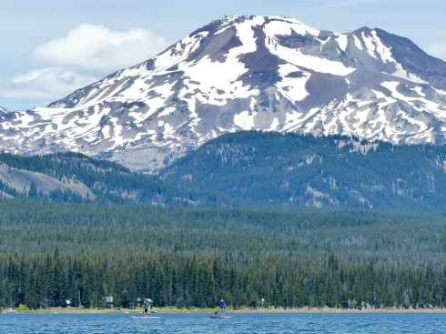 South Sister from Elk Lake (and my mom & dad are paddleboarding in the lake)