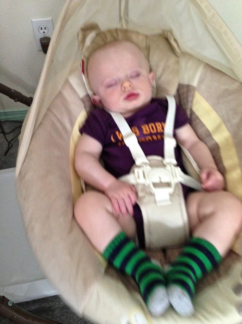 "Sleeping soundly in his ""special swing chair"" - May 31, 2015"