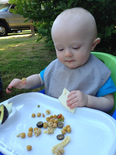 Balancing his olive and his garbanzo bean with his right hand - June 13, 2015