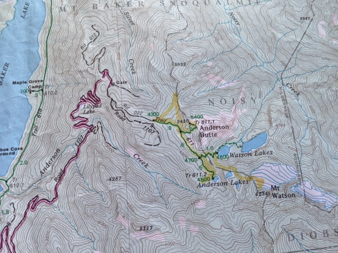 Anderson Butte hike on our Green Trails Map (Lake Shannon - No 46)