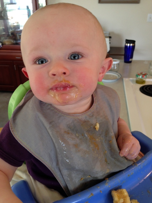 Peanut butter banana face (the day of the allergic reaction) - 8.5 months old - May 1, 2015
