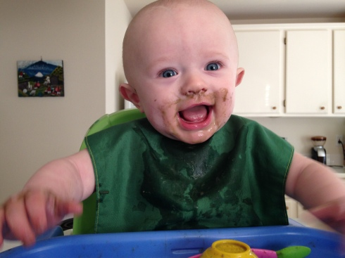 Green smoothie face - 6 months old - February 23, 2015