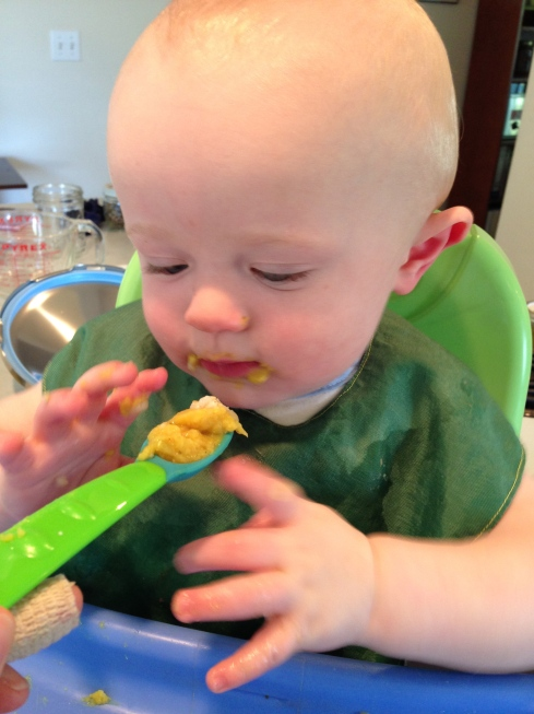 Spoon feeding red lentil dal - almost 9 months old - May 18, 2015