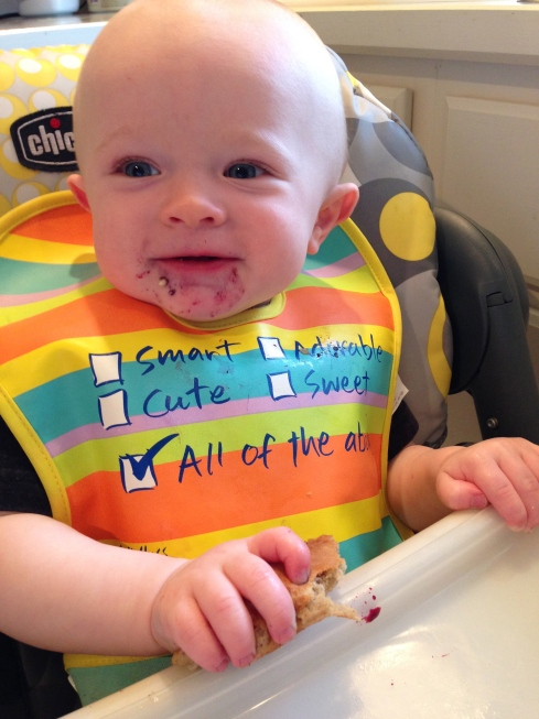 Who wouldn't smile for a blueberry pancake? - 9.5 months old - June 2, 2015