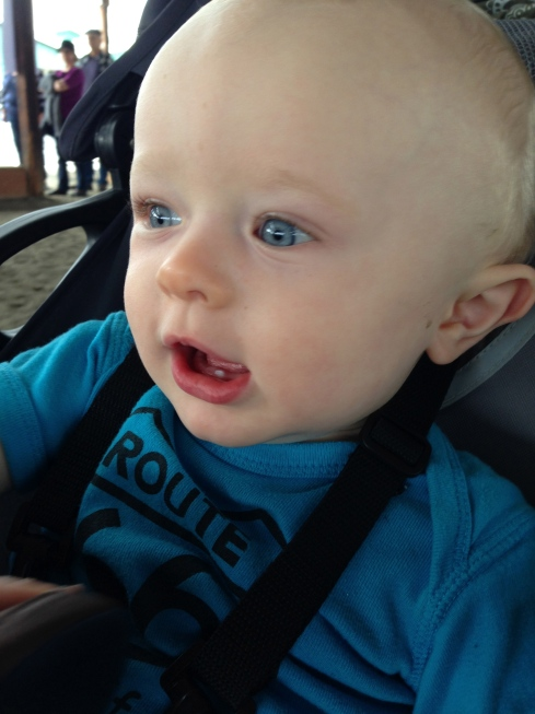 Good view of his 1st tooth! - July 11, 2015