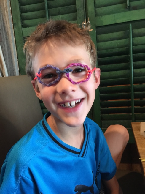 Eli with his Wikki Sticks glasses - August 9, 2015