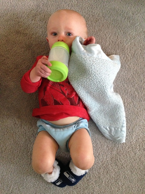"Green Sprouts sippy & ""pillow blanket"" & Seahawks fuzzy slippers - September 14, 2015"