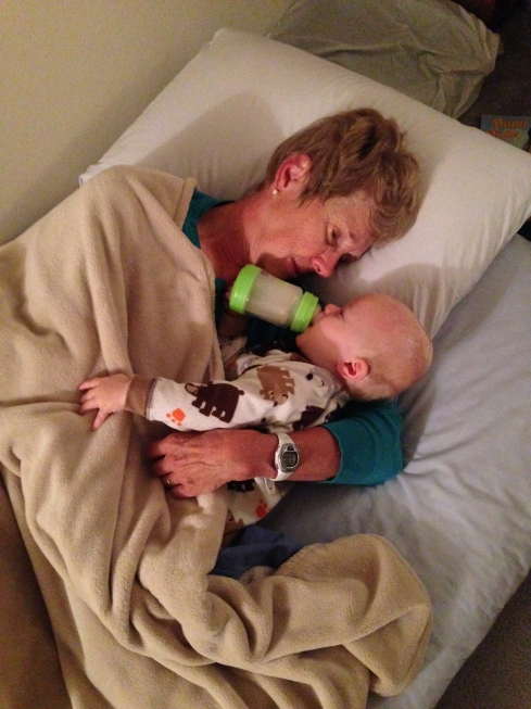 Morning snuggles with his Grandma - October 5, 2015