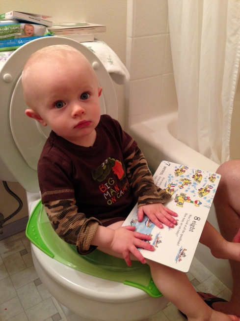 He doesn't always let you put him on the toilet like this! - October 25, 2015