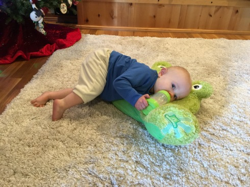 Pillow frog from Grandma - Christmas 2015