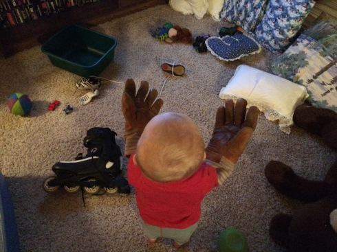 Putting on Eric's old mitts - January 14, 2016