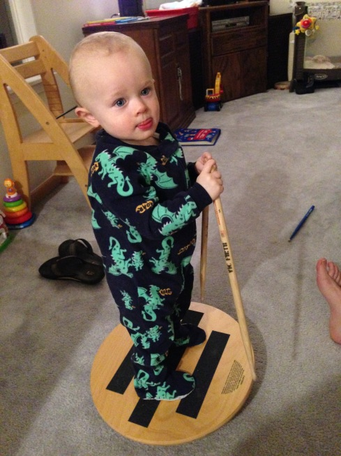 On the balance board before bed - February 4, 2016
