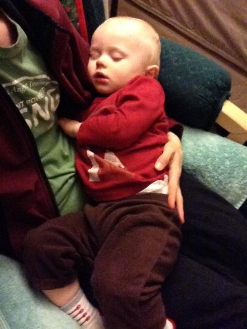 Finishing his nap on me - February 17, 2016