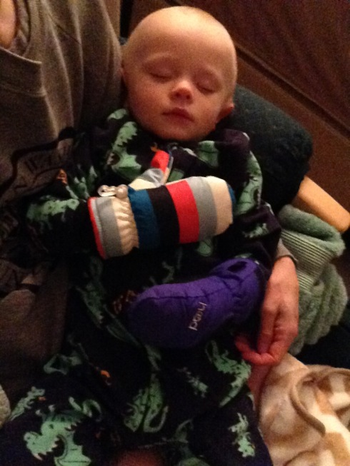 Wearing his ski mitts before bed - March 2, 2016