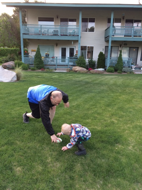 Eric & Todd playing football - April 29, 2016