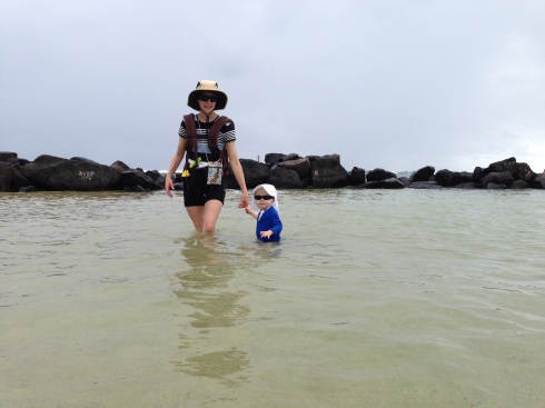 "Todd's first ""swim"" in the ocean - May 28, 2016"