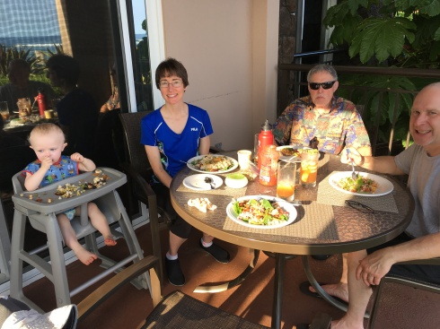 1st meal on the lanai - Todd, me, my dad & Eric - May 27, 2016