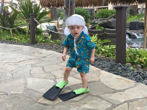 Todd walking in flippers - June 3, 2016