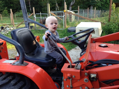 Playing on the tractor at New Moon Farm - August 3, 2016