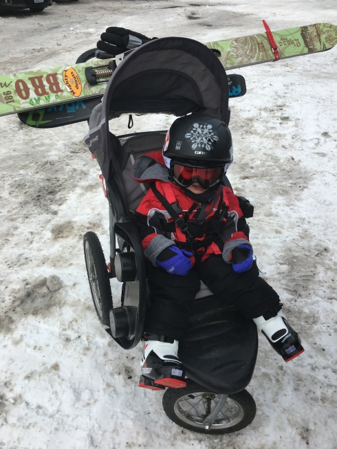 Eric had the stroller loaded up! - November 29, 2016